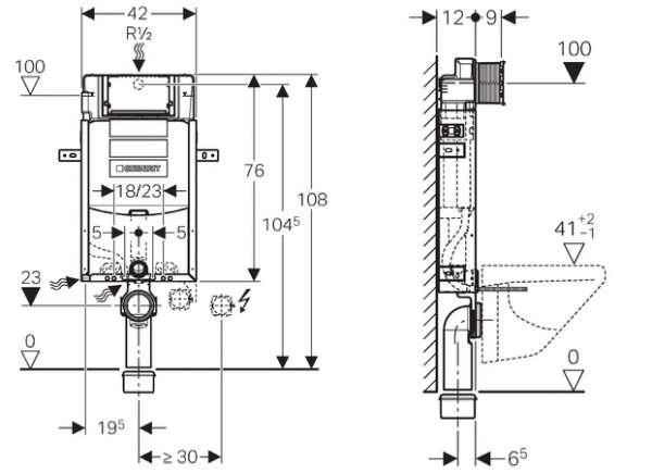 Wymiary techniczne elementu montażowego Geberit Kombifix UP320 110.300.00.5-image_Geberit_110.300.00.5_4