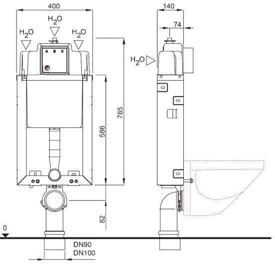 Wymiary techniczne stelaża Schwab 4060452104.-image_Grohe_32830000_1