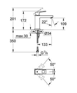 Rysunek techniczny baterii umywalkowej Grohe Eurocube 23446 000-image_Grohe_23446000_4