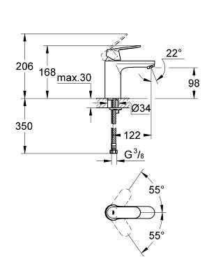 Rysnunek techniczny baterii umywalkowej Grohe Eurosmart Cosmopolitan 23327000-image_Grohe_23327000_4