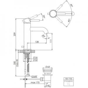 Rysunek techniczny kranu do umywalki Steinberg 100 1001755-image_Steinberg_1001755_2