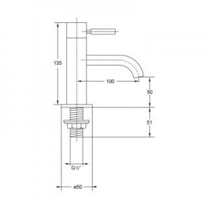 Wymiary techniczne baterii umywalkowej Steinberg 100 1002500-image_Steinberg_1002500_2