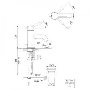 Wymiary techniczne baterii do umywalki Steinberg 100 1001000-image_Steinberg_1001000_2