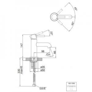 Wymiary techniczne baterii do umywalki Steinberg 100 1001050-image_Steinberg_1001050_2