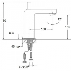 Wymiary techniczne baterii do umywalki Steinberg 120 1201010-image_Steinberg_1201010_2
