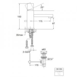 Wymiary techniczne baterii umywalkowej Steinberg 160 1601050-image_Steinberg_1601050_2
