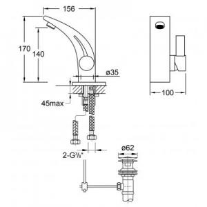 Rysunek techniczny baterii umywalkowej Steinberg 180 1801000-image_Steinberg_1801000_2