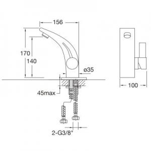 Wymiary techniczne baterii umywalkowej Steinberg 180 1801010-image_Steinberg_1801010_2