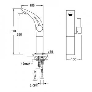 Rysunek techniczny baterii umywalkowej Steinberg 180 1801700-image_Steinberg_1801700_2