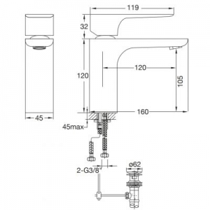 Rysunek techniczny baterii umywalkowej Steinberg 205 2051000-image_Steinberg_2051000_2