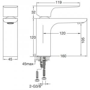Wymiary techniczne baterii umywalkowej Steinberg 205 2051010-image_Steinberg_2051010_2