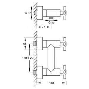 Wymiary techniczne baterii prysznicowej Steinberg 250 2501200-image_Steinberg_2501200_2