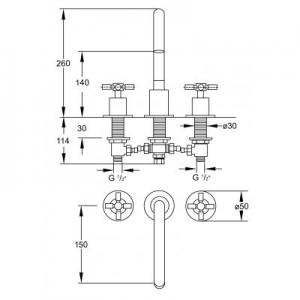 Wymiary techniczne baterii do umywalki Steinberg 250 2502000-image_Steinberg_2502000_2