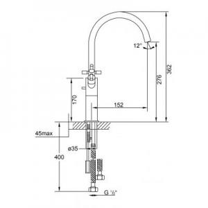 Rysunek techniczny baterii umywalkowej Steinberg 250 2501550-image_Steinberg_2501550_2