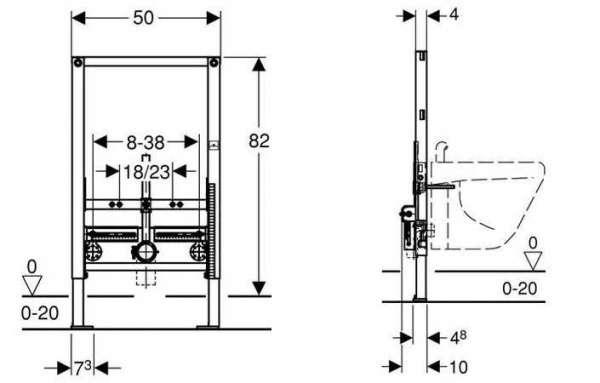 Wymiary techniczne stelaża podtynkowego do bidetu H82 Geberit Duofix 111515001-image_Geberit_111.515.00.1_4