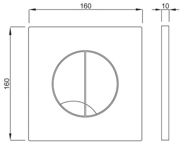 Wymiary techniczne przycisku spłukującego Atena Duo-image_Schwab + Roca_SCHWAB/ATENADUOB/GAPRIM_3