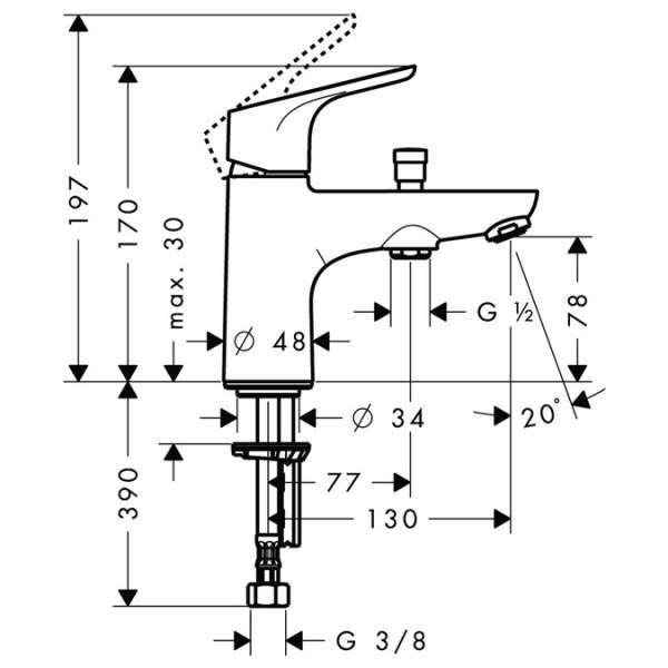 Wymiary techniczny baterii  Hansgrohe Focus E2 31930000 -image_Hansgrohe_31930000_3