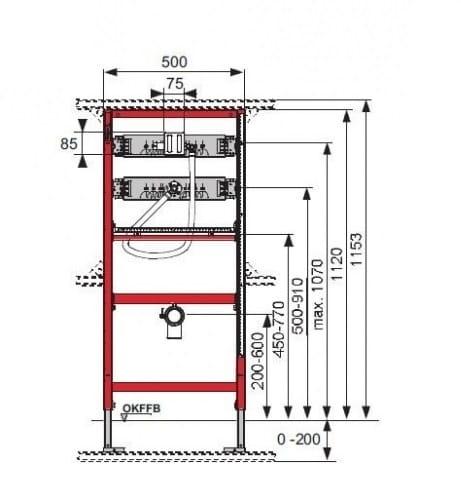 Rysunek techniczny uniwersalnego stelaża do pisuaru TECE profil 9.320.308-image_Tece_9.320.308_3