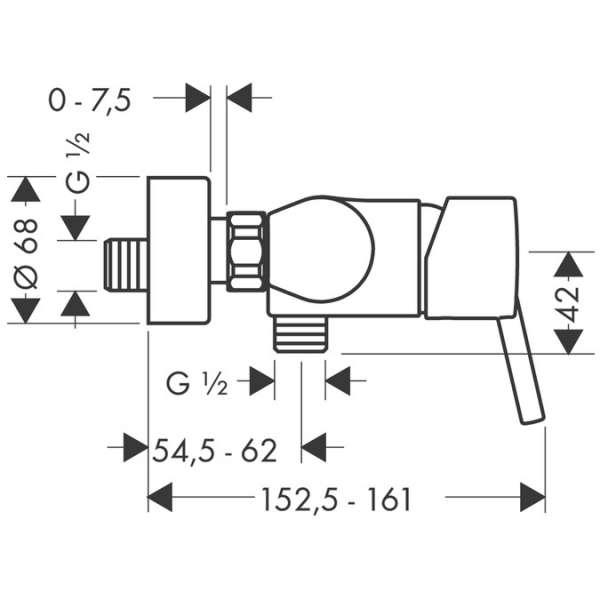 Rysunek techniczny baterii natryskowej Hansgrohe Talis S 32620000-image_Hansgrohe_32620000_3