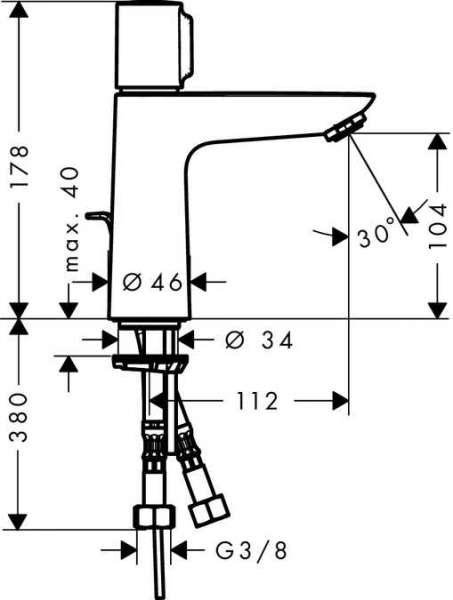 Rysunek techniczny baterii umywalkowej Hansgrohe Talis 71750000-image_Hansgrohe_71750000_3
