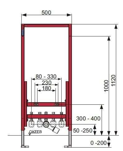 Rysunek techniczny stelaża bidetowego Tece 9.330.000-image_Tece_9.330.000_3