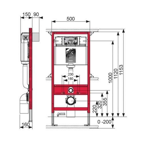 Rysunek techniczny stelaża podtynkowego do wc TECE base 9.400.007-image_Tece_9.400.007_3