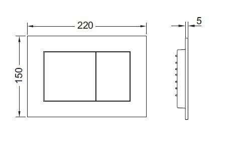 Wymiary techniczne przycisku do wc Tecenow 9240400-image_Tece_9.240.400_4