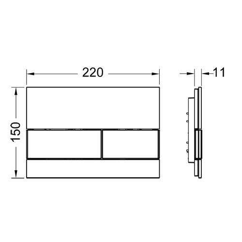 Wymiary techniczne przycisku do wc Tecesquare szkło-image_Tece_9.240.801_3