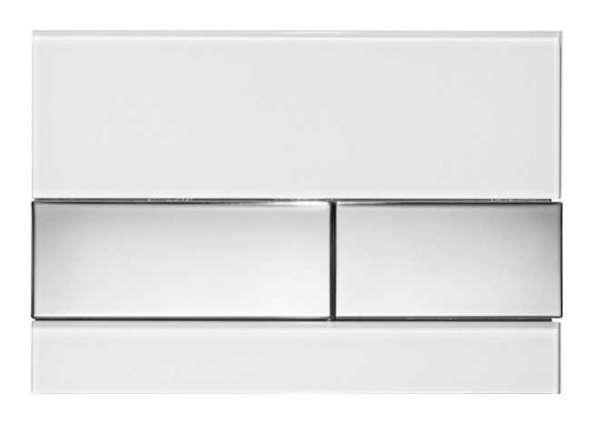 Biały przycisk spłukujący Tece Square 9240802 w wersji białe szkło - przyciski chrom połysk.-image_Tece_9.240.802_3