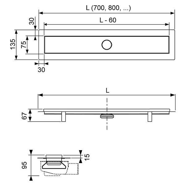 Wymiary techniczne odpływu Linus-image_Tece_15103070_2