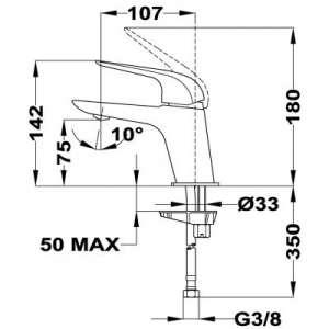Rysunek techniczny baterii umywalkowej Teka Itaca -image_Teka_673460200_2