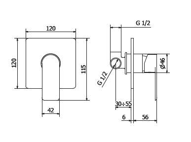 Dane techniczne baterii prysznicowej Teorema XS-image_Teorema_8x000BB-009_2