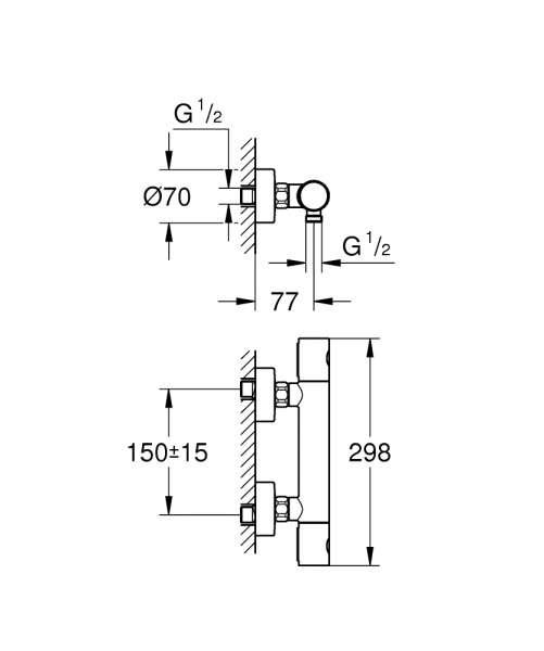 Wymiary techniczne termostatycznej baterii prysznicowej Grohe Grohtherm 1000 Cosmopolitan 34065AL2 brushed hard graphite -image_Grohe_34065al2_4
