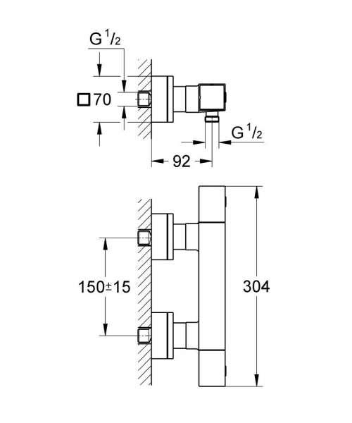 Rysunek techniczny termostatu prysznicowego Grohe Grohtherm Cube 34488000-image_Grohe_34488000_4