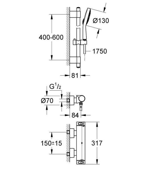 Wymiary techniczne zestawu Grohe Grohtherm 2000 34281001-image_Grohe_34281001_3