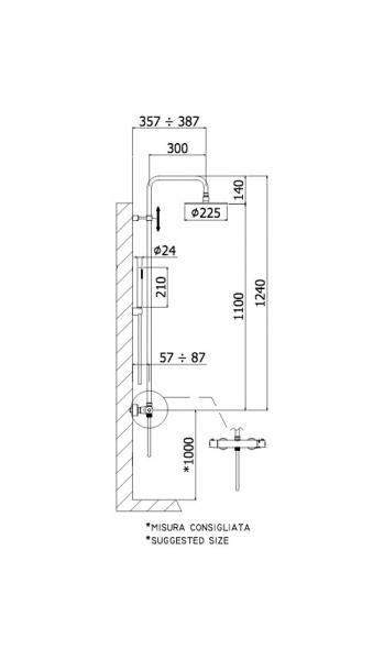 Wymiary techniczne termostatycznej kolumny prysznicowej Paffoni Light Black z deszczownicą 225mm