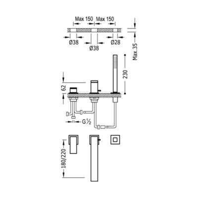 Wymiary techniczne 3 otworowej baterii wannowej z długą wylewką Tres Cuadro -image_Grohe_32247000_2