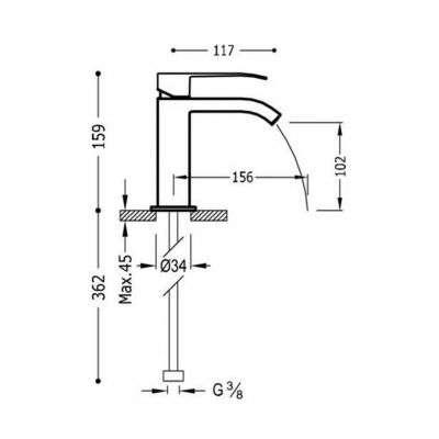 Wymiary baterii umywalkowej Tres Cuadro czarny mat -image_Tres baterie do kuchni i łazienki_006.101.01.NM.D_2