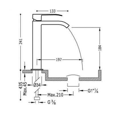 Wymiary techniczne baterii umywalkowej Tres Cuadro 00661001NMD-image_Tres baterie do kuchni i łazienki_006.610.01.NM.D_2