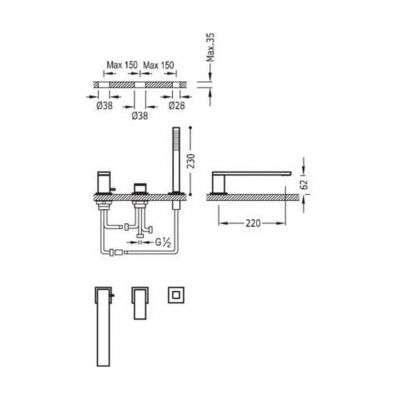 Wymiary techniczne białej baterii wannowej 3 otworowej Tres Cuadro 006.161.03.BM-image_Tres baterie do kuchni i łazienki_006.161.03.BM_2