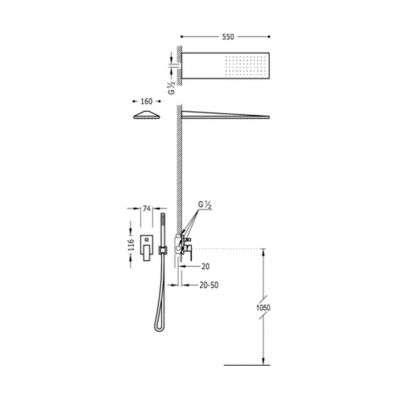 Wymiary techniczne podtynkowego zestawu prysznicowego Tres Cuadro White z prostokątną deszczownią w wersji biały mat-image_Tres baterie do kuchni i łazienki_006.180.03.BM_2