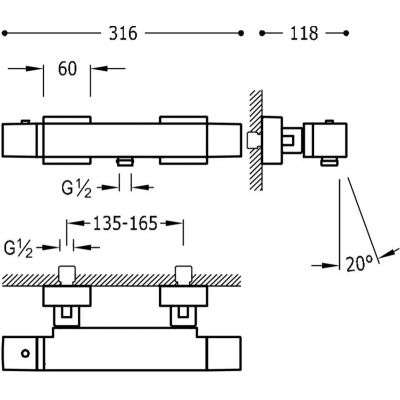 Wymiary techniczne termostatycznej baterii wannowej Tres CUadro White Matt 007174039BM-image_Tres baterie do kuchni i łazienki_007.174.03.9.BM_2