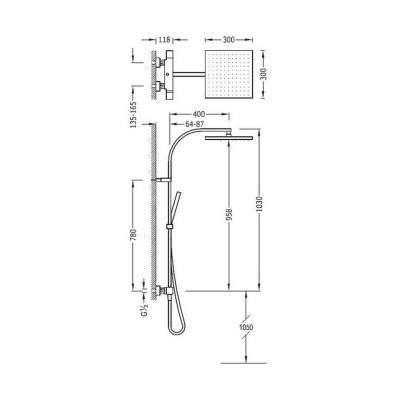 Wymiary techniczne termostatycznej natynkowej kolumny prysznicowej z deszczownicą Tres CUadro White 007.395.02.BM-image_tres_cuadro00739502bm_2