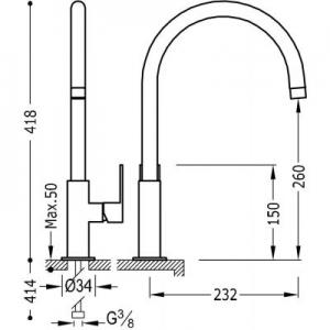 Wymiary techniczne baterii kuchennej Tres Loft Colors 200.440.02.BM-image_Tres_20044002BM_2