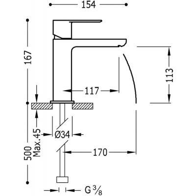 Wymiary techniczne baterii umywalkowej Tres Loft-image_tres_20010301_2