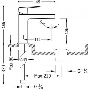 Rysunek techniczny baterii umywalkowej Tres Project 211.103.01.AC.D-image_Tres_21110301ACD_2
