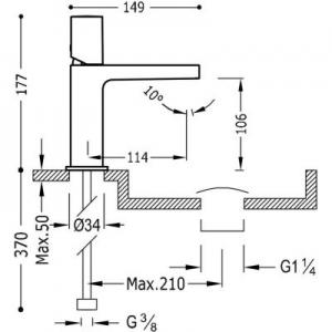 Rysunek techniczny baterii umywalkowej Tres Project 211.103.02.AC.D-image_Tres_21110302ACD_2