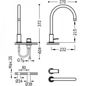 Rysunek techniczny baterii umywalkowej Tres Project 211.105.01.BM-image_Tres_21110501BM_2