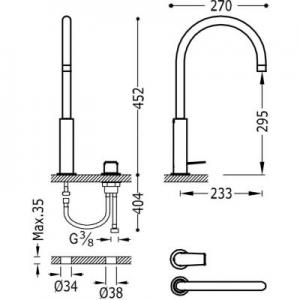 Rysunek techniczny baterii umywalkowej Tres Project 211.105.02.AC-image_Tres_21110502AC_2