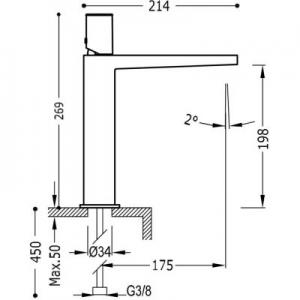 Rysunek techniczny baterii umywalkowej Tres Project 211.203.02.BM.D-image_Tres_21120302BMD_2
